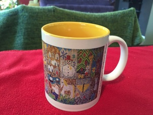 11 oz white mug w/yellow accents & mosaic wrap