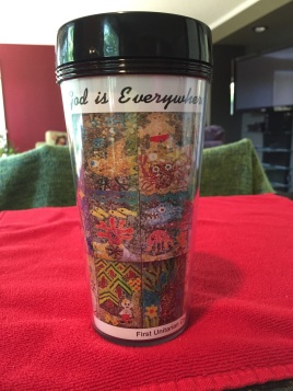 16 oz clear travel mug w/full color mosaic insert w/black accents